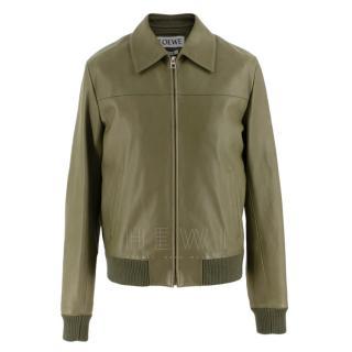 Loewe Men's Khaki Soft Leather Jacket
