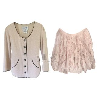 Chanel Pink Tweed Jacket & Tulle Skirt