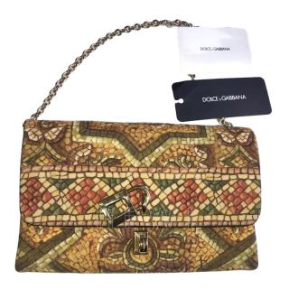 Dolce & Gabbana Printed Fabric and Leather Clutch Bag