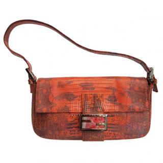 Fendi Vintage Embossed Lizard Baguette Bag