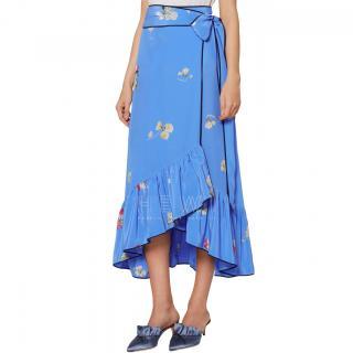 Ganni Blue Silk Floral Printed Joycedale Wrap Skirt