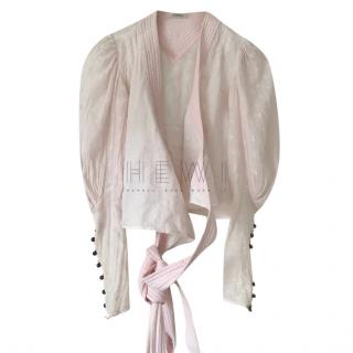 Chloe Pink Embroidered Wrap Blouse