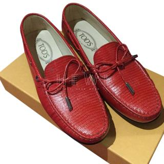 Tod's Red Lizard Embossed Loafers