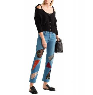 Christopher Kane Sequin lace-paneled mid-rise boyfriend jeans
