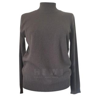 Max Mara Grey Wool Roll Neck Jumper