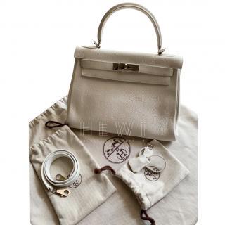 Hermes White Togo Leather 25cm Birkin Bag
