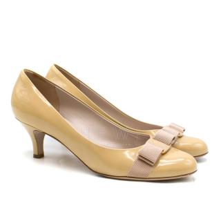 Salvatore Ferragamo Nude Patent Leather Vara Bow Pumps