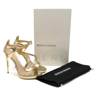 Nicholas Kirkwood mirror gold strappy sandals