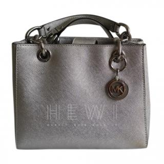 Michael Michael Kors Silver Saffiano Leather Tote Bag