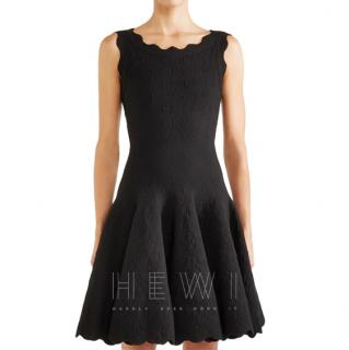 Alaia Black Jacquard-knit Scalloped Wool Mini Dress