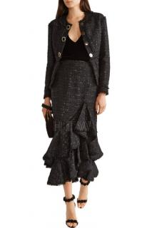 Erdem karina metallic tweed peplum jacket