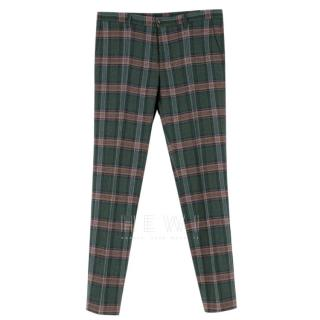 Etro Men's Green Check Wool Blend Tailored Trousers