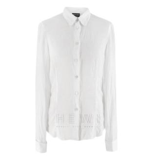 Giorgio Armani Semi-Sheer Linen White Shirt