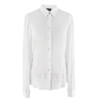 Giorgio Armani Semi-Sheer Linen White Shirt