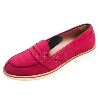 Tod's Pink Suede Loafers