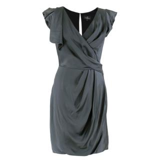 J. Mendel slate blue silk draped dress