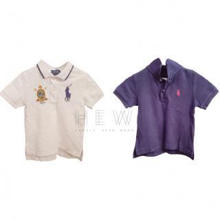 Ralph Lauren Boy's purple & white polo tops
