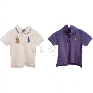 Ralph Lauren Boy's purple & white polo tops