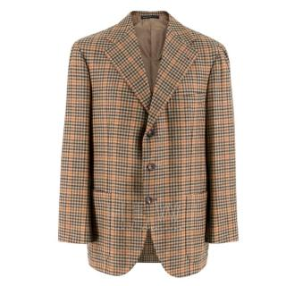 Gianni Volpe Brown Stripe Pattern Tweed Blazer Jacket
