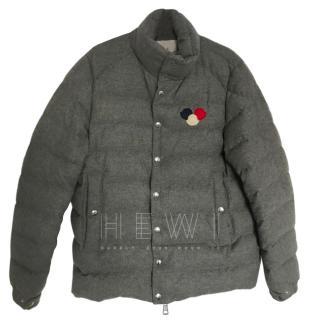 Moncler Men's Mickey Logo Grey Puffer Jacket