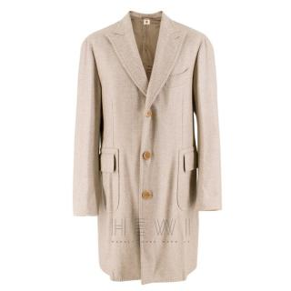 Luigi Borrelli Beige Cashmere Single-Breasted Coat