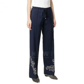 Ermanno Scervino Floral Embroidered Straight Trousers
