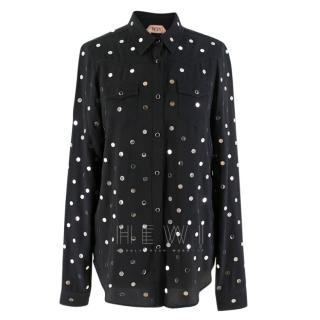 No.21 Silver Disc Embellished Black Shirt
