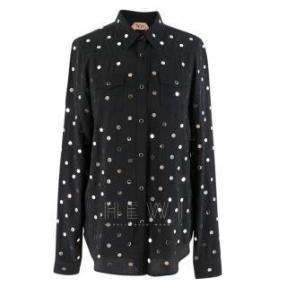 No.21 Silver Disc Embellished Black Shirt