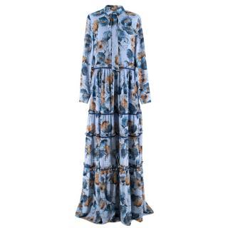 Prose & Poetry Blue & Orange Floral Maxi Dress