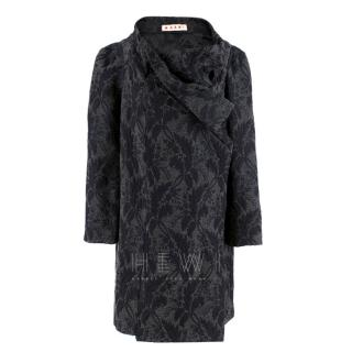 Marni Grey Virgin Wool Blend Floral Wrap Coat