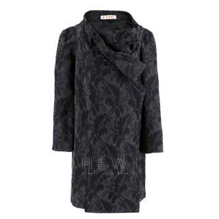 Marni Grey Virgin Wool Blend Floral Wrap Coat