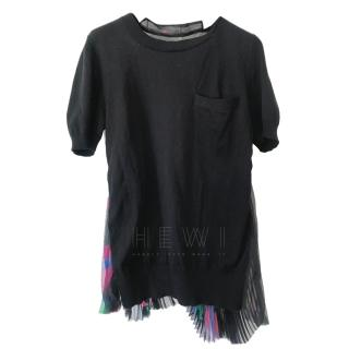 Sacai Pleat Back Black T-Shirt