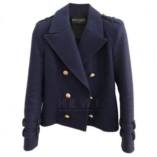 Balmain Blue Wool & Cashmere Blend Jacket