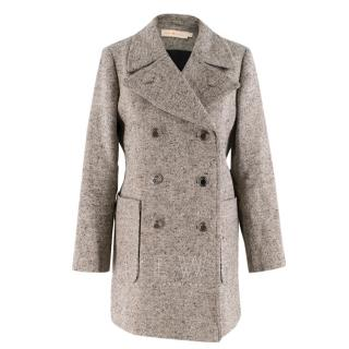 Tory Burch double breasted tweed grey coat