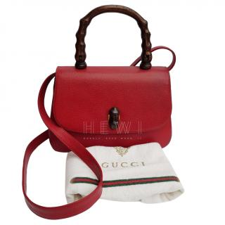 Gucci Red Bamboo Top Handle Bag