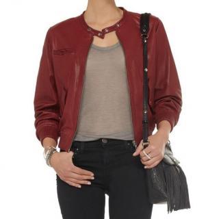 Isabel Marant Etoile Burgundy Leather Bomber