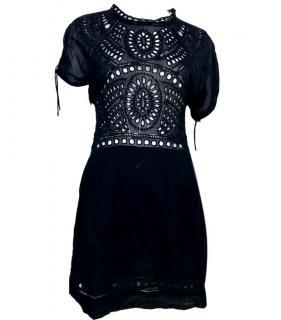Isabel Marant Etoile Black Crochet Mini Dress