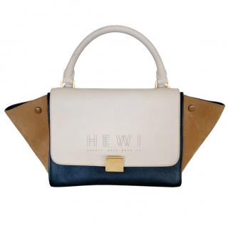 Celine Tri-Colour Leather & Suede Trapeze Bag