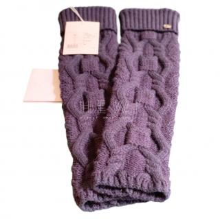 Chanel Navy Cable Knit Wool Leg Warmers