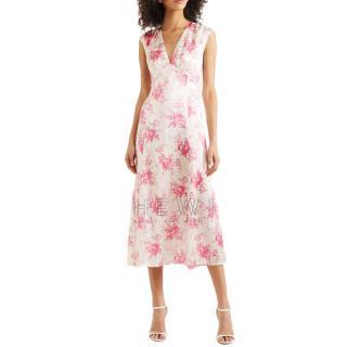 Les R�veries Floral-print silk-charmeuse midi dress