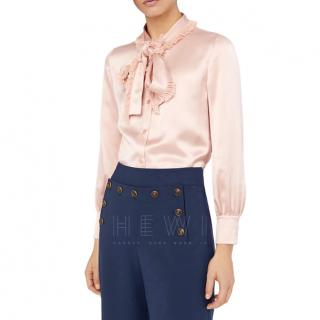 Tory Burch Silk Pink Shirt W/ Detachable Fringe Neck Tie