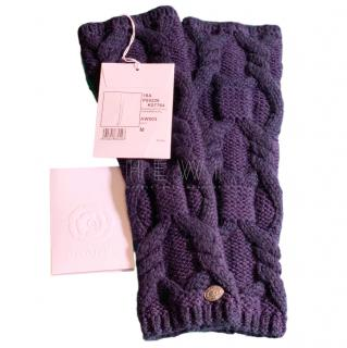 Chanel Navy Cable Knit Cashmere & Wool Fingerless Gloves