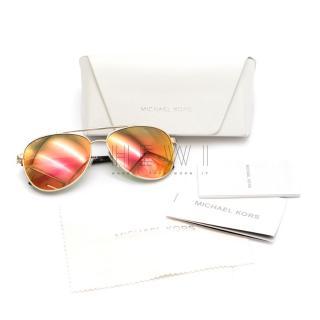 Michael Kors gold & red gradient aviator sunglasses