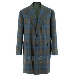 Sartoria Solito Green Tweed Tailored Checked Coat