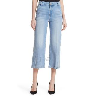 Frame Twist Seam Crop Wide Leg Jeans