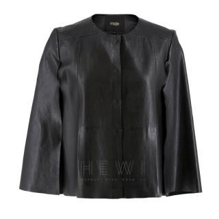 Maje cropped black leather cape