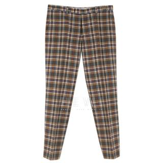 Etro Check Wool Tailored Trousers