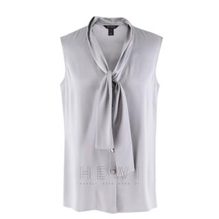 St. John Satin Tie Neck Sleeveless Blouse
