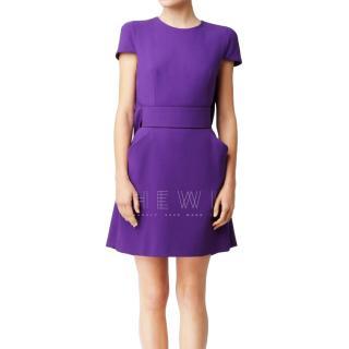 Alexander McQueen Purple Crepe Mini Dress