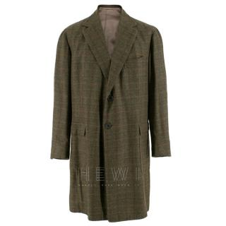 Gennano Solito Bespoke Wool Green Checked Coat